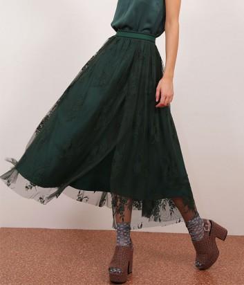 Гипюровая юбка-миди Dixie с узором изумрудная
