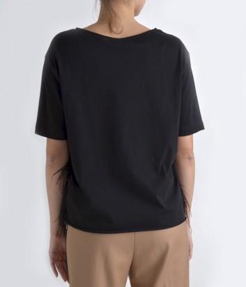 Блуза Souvenir декорированная натуральными перьями черная