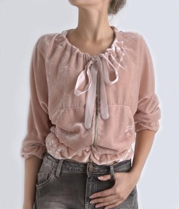 Бархатная кофта Maryley на молнии розовая