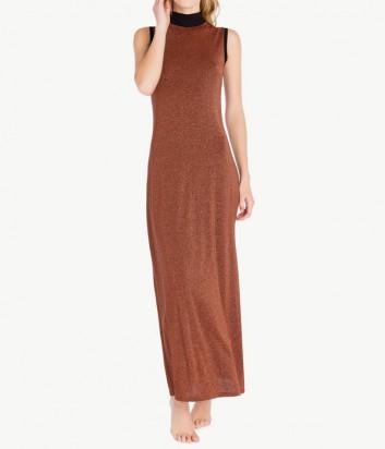 Длинное платье Twin Set IA7WCC с люрексом терракотовое