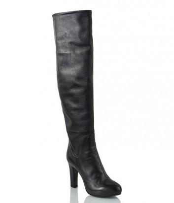 Кожаные ботфорты Loriblu на высоком каблуке черные
