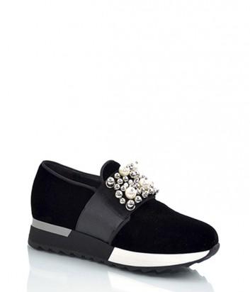Бархатные кроссовки Jeannot 71166 с декором черные