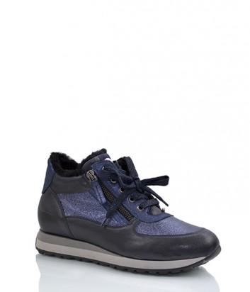 Кожаные кроссовки Tine's 5395 с мехом синие