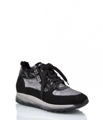 Кожаные кроссовки Tine's 5395 с мехом черные