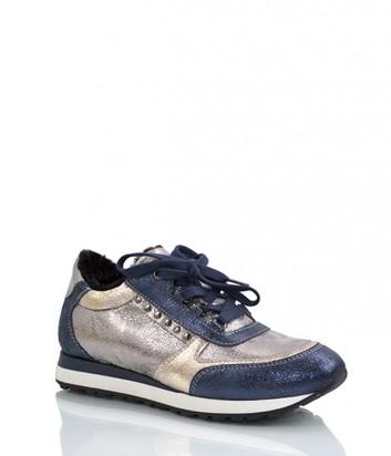 Кожаные кроссовки Tine's 5813 с мехом синие