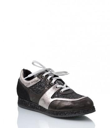 Кожаные кроссовки Tine's 5819 с мехом черные