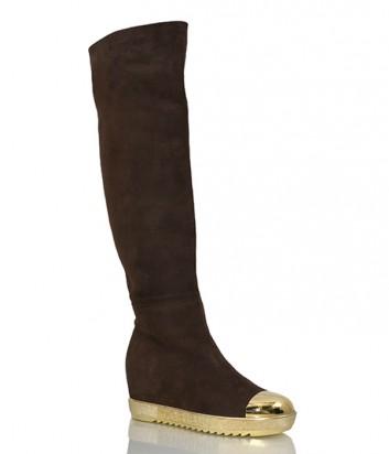 Замшевые сапоги-ботфорты Loriblu 8472 коричневые