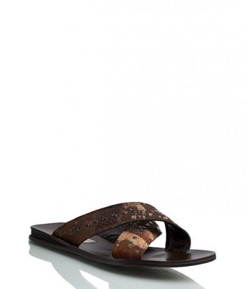 Кожаные шлепанцы Gianfranco Butteri 7901 коричневые