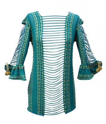 Пляжное ажурное мини платье Despi 1614 изумрудное
