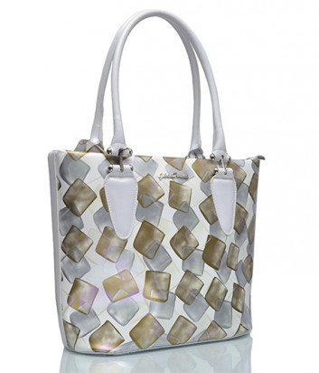 Кожаная сумка Gilda Tonelli 5239 белая с золотым рисунком
