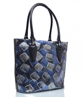 Кожаная сумка Gilda Tonelli 5239 черная с синим рисунком