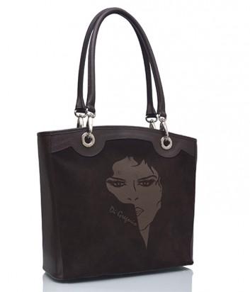 Замшевая сумка Di Gregorio 973 с рисунком коричневая