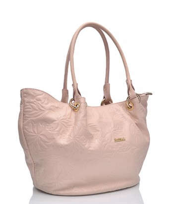 Кожаная сумка Marina Creazioni 3694 с тиснением розовая