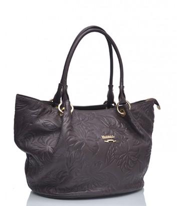 Кожаная сумка Marina Creazioni 3694 с тиснением коричневая