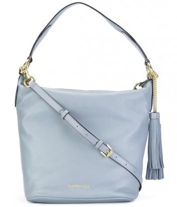 Большая сумка-хобо Michael Kors Elana из мягкой кожи нежно-голубая