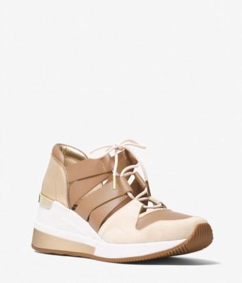 Бежевые замшевые кроссовки Michael Kors Beckett с кожаными вставками