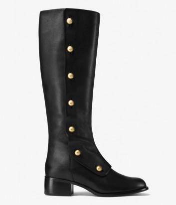 5acb7d7ee465 Кожаные сапоги Michael Kors Maisie на маленьком каблуке черные