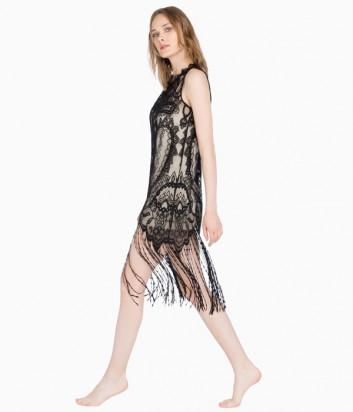 Кружевное платье с бахромой Twin Set MS7CAA черно-бежевое