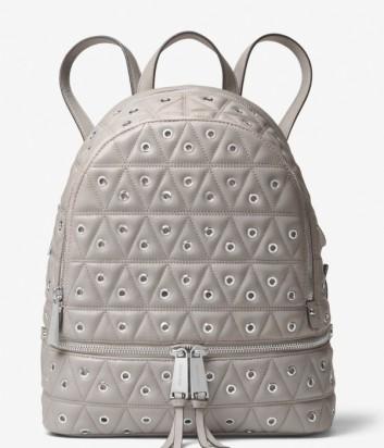 Кожаный рюкзак Michael Kors Rhea Grommeted серый