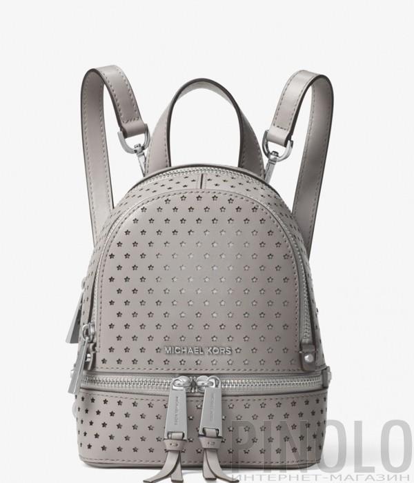 Маленький рюкзак Michael Kors Rhea Mini из перфорированной кожи серый 7c8124ebc8a