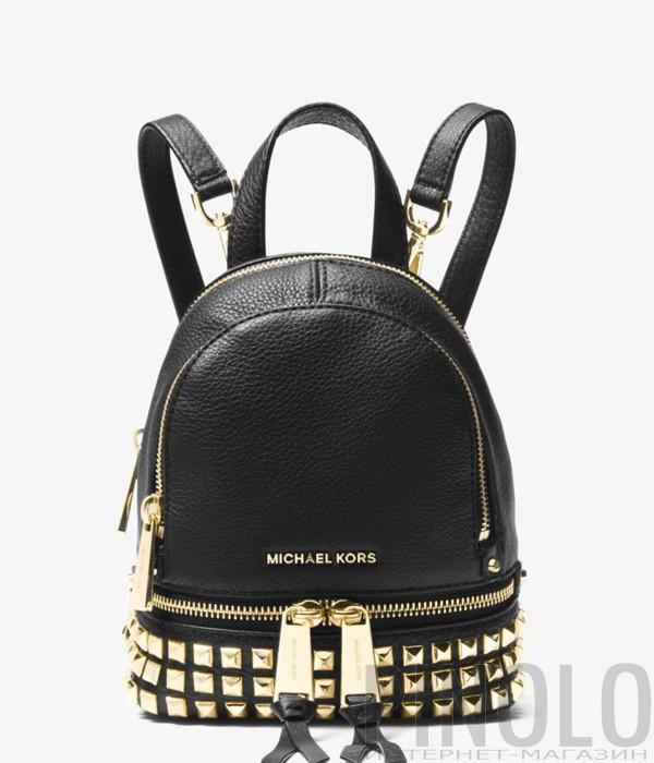 5462edc83559 Маленький кожаный рюкзак Michael Kors Rhea Mini с заклепками черный ...