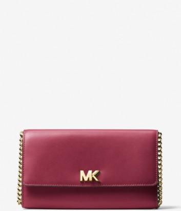 Кожаная сумка-клатч Michael Kors Mott на длинном ремешке вишневая