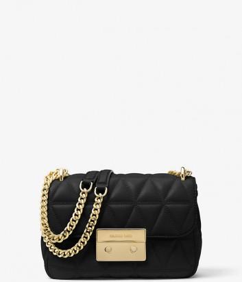 Кожаная сумка Michael Kors Sloan Small черная с золотой фурнитурой