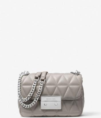 Кожаная сумка Michael Kors Sloan Small серая с серебряной фурнитурой