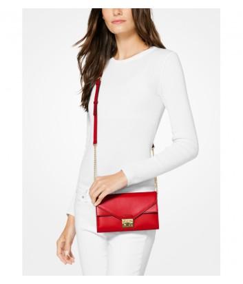 Кожаная сумка-клатч Michael Kors Sloan на ручке-цепочке ярко-красная