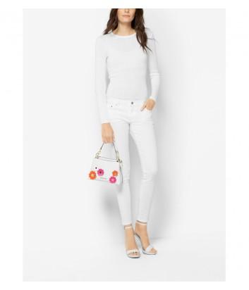 Сумочка Michael Kors Portia с цветочной аппликацией белая