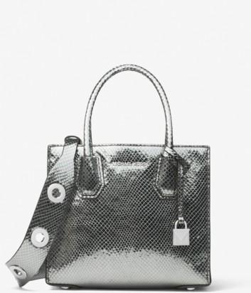 Кожаная сумка Michael Kors Mercer с широким плечевым ремнем серебристая