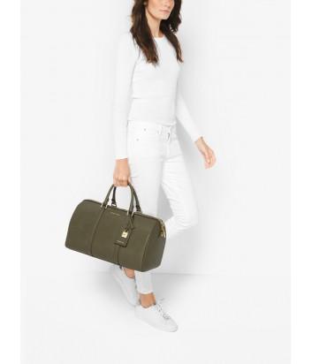 Дорожная сумка Michael Kors Jet Set Weekender из кожи сафьяно оливковая