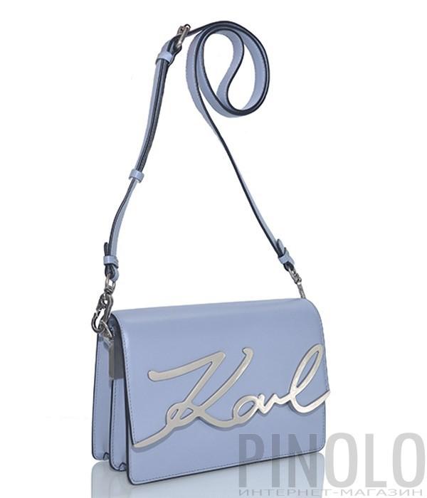 6dc1fdddd454 Кожаная сумка через плечо Karl Lagerfeld Signature голубая - купить ...