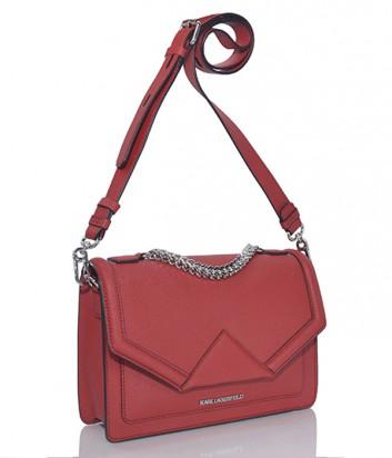 Сумка через плечо Karl Lagerfeld Klassik из кожи сафьяно красная