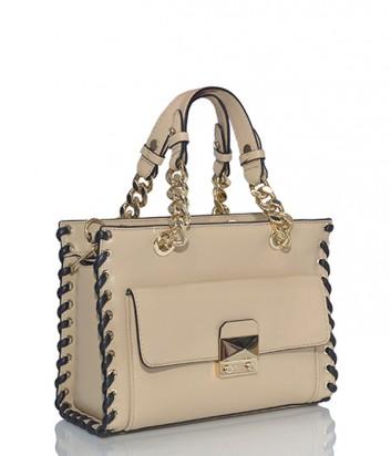Кожаная сумка Karl Lagerfeld Whipstitch с внешним карманом бежевая