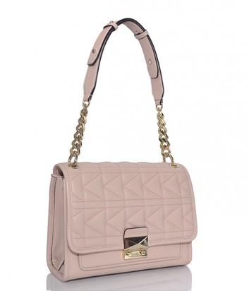 Стеганная кожаная сумка Karl Lagerfeld Kuilted нежно-розовая