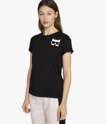 Хлопковая футболка Karl Lagerfeld IKONIK CHOUPETTE черная