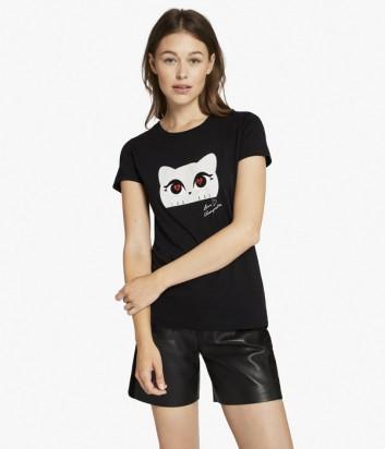Хлопковая футболка Karl Lagerfeld CHOUPETTE LOVE черная