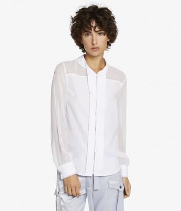 Шелковая блуза на молнии Karl Lagerfeld белая