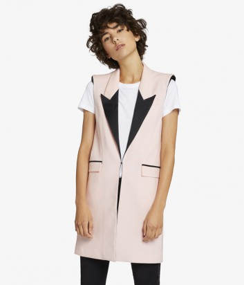 Удлиненный жилет Karl Lagerfeld розовый с черными деталями
