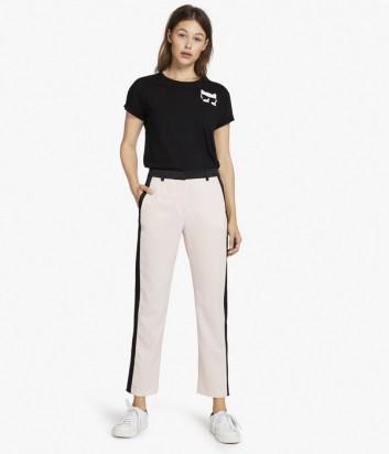 Классические брюки Karl Lagerfeld розовые с черными деталями