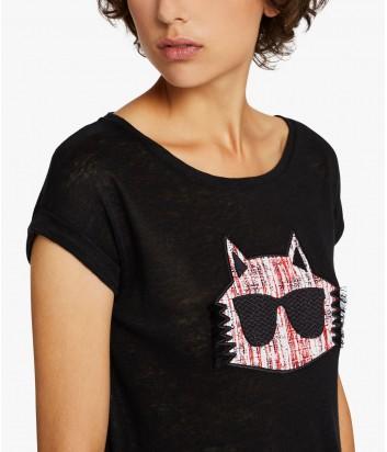 Льняная футболка Karl Lagerfeld CHOUPETTE черная