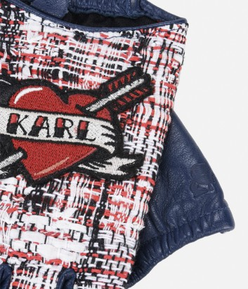 Кожаные митенки Karl Lagerfeld KARL CAPITANO с твидовыми вставками