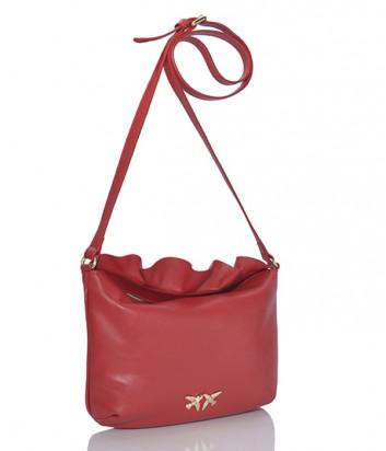 Кожаная сумка через плечо Pinko Ariany с воланами красная