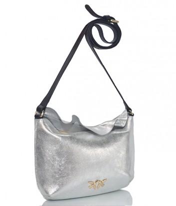 Кожаная сумка через плечо Pinko Ariany с воланами серебристая
