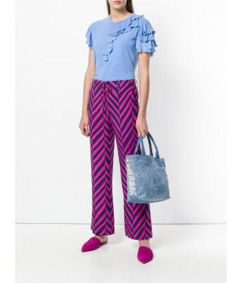 Сумка шоппер Pinko Capolepre декорированная кристаллами голубая
