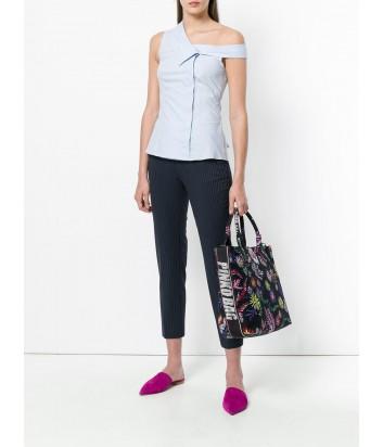 Черная сумка шоппер Pinko Capasanta с ярким цветочным притном