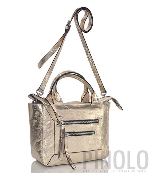 c15765e7bfbb Кожаная сумка Tosca Blu с двумя фронтовыми молниями золотая - купить ...