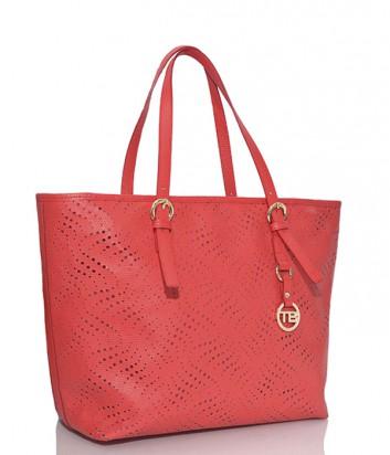 Большая сумка-шоппер Tosca Blu из перфорированной кожи красная