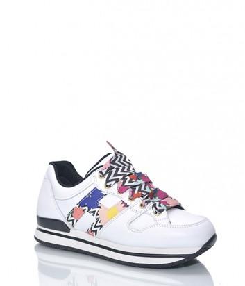 Белые кожаные кроссовки HOGAN с цветными вставками